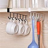 Multifunktionales Hakengestell von Glodenbridge mit 6Haken zum Aufhängen unter Regalen und Trocknen von Tassen, Gläsern und Kochbesteck oder Aufhängen im Schrank für Gürtel und Schals, 2Stück