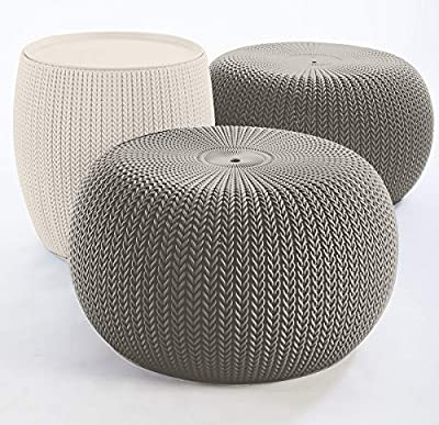 Keter Urban Knit Pouf Ottoman Set of 2 with Storage Table for Patio and Room Décor-Perfect for Balcony, Deck, and Outdoor Seating, Cream & Taupe