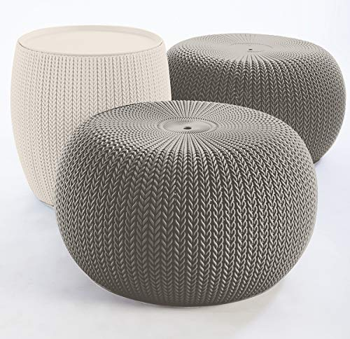 Keter Urban Knit Pouf Ottoman Set of 2 with Storage Table for Patio and Room Décor-Perfect for Balcony, Deck, and…