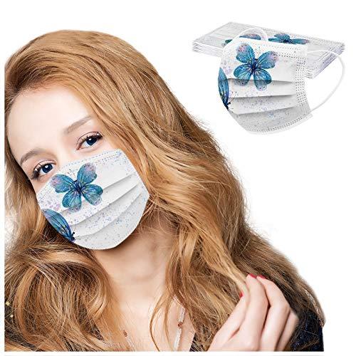 10 Stück 3-lagig Erwachsenenmäske mit Weihnachten Motiv Mund und Nasenschutz,Einweg-Gesichtsabdeckung Staubdich Outdoor Mundschutz Halstuch (A)