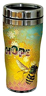 Bee Hope Travel Mug, Stainless Lined Coffee Tumbler, 16-Ounce - Angi and Silas - Inspirational Gift for Bee Lovers - Tree-Free Greetings 25550 (B00V4PIGLU) | Amazon price tracker / tracking, Amazon price history charts, Amazon price watches, Amazon price drop alerts
