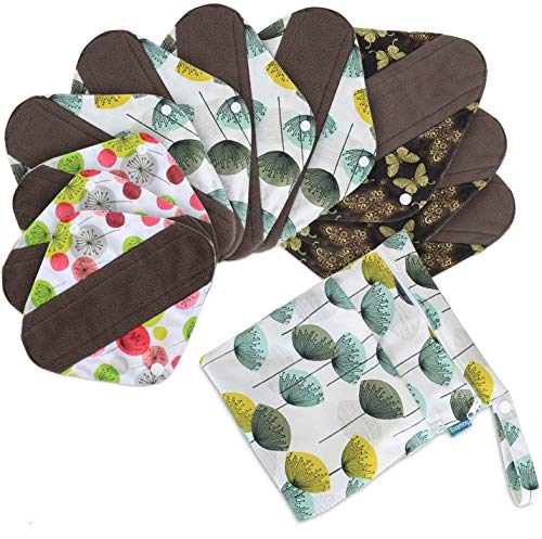 Teamoy Serviettes Hygièniques Réutilisables en fibre de bambou (lot de 10) pour féminine, Lavable/Réutilisables, Avec un Sac à humide sec