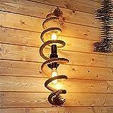 Lampade da parete in corda di canapa LOFT/Plafoniera, luce a muro a LED vintage industriale a doppia testa Lampada a sospensione decorativa da parete applique da bar in ferro antico