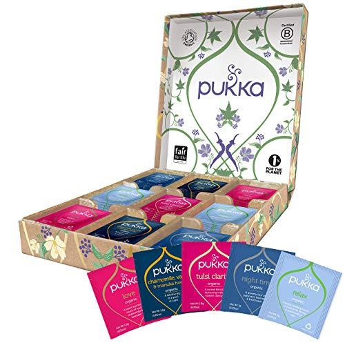 Pukka Coffret Infusions Bio, Idée cadeau, Sélection Relax de 5 infusions biologiques et ayurvédiques Issus du commerce équitable, 100% bio, idéal à offrir (1 boite, 45 sachets)