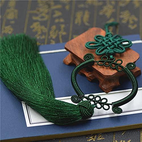 Nudo chino nudo borla joyería DIY hogar cortina accesorios de costura coche llavero bolsa colgante borla china nudo (color: verde oscuro)