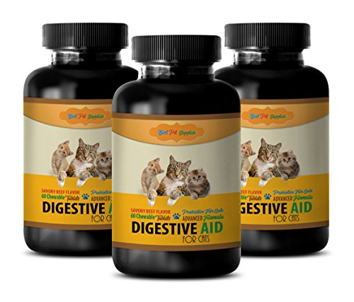 Digestive Supplements for Cats - CAT Digestive AID - PROBIOTIC Benefits - Best Results - acidophilus for Cats - 180 Chews (3 Bottle)