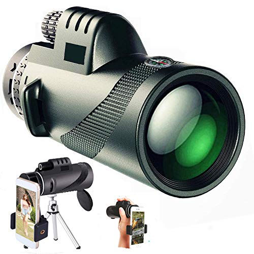 Leistungsstarker Monokular Teleskop Optik Scope 40x60 für Smartphone Militär Spyglass Zoom HD mit Handyhalter Stativ Geschenke für Erwachsene für Outdoor Vogelbeobachtung Jagd Wandern Camping Reisen