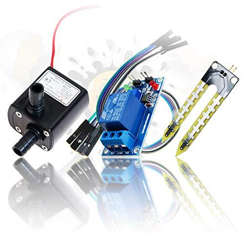 ANDROEGG 12V Bewässerungsset Hygrometer Steuermodul Relais Bewässerung Sensor Set + Wasserpumpe
