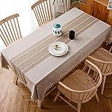 J-MOOSE Mantel rectangular y oblongo de lino de algodón lavable para mesa de cocina (marrón claro,...