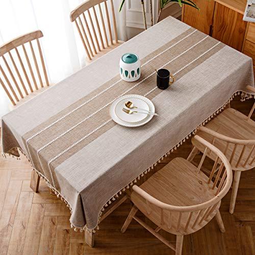 J-MOOSE Coutures Nappe Coton et Lin protégé Contre la poussière Tissu de Table à Manger Housse pour Table pour Table de Salle à Manger de Cuisine Décoration (140x220cm, Light Brown)