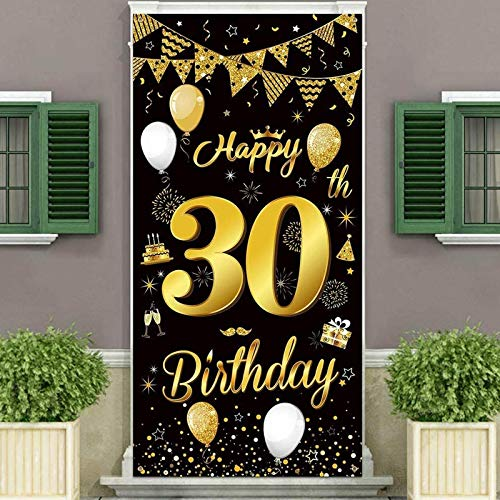 Birthday Party Decorations Backdrop and Door Banner,Black Gold Birthday Decoration for Men and Women of 40th Birthday Party,Essential Decoration for Birthday Party,185×90cm(72.8×35.4 inch)