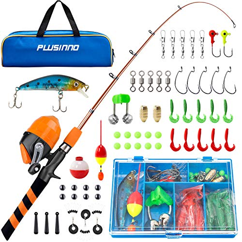 PLUSINNO Kids Fishing Pole, Portable...