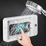 Wall Mount Shower Phone Holder Bathroom case Mount Shelf, Bathroom Phone Shelf Shower Glass Mirror Shower Mount Storage Box Phone Holder, Waterproof (White Mobile Phones Without case)