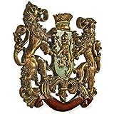 Design Toscano EU1030  Heraldic Royal Lions Coat of Arms Medieval Decor Wall Sculpture, 30 Inch, Full Color