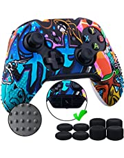 9CDeer 1 x Studded Protector Transfer Customized Silicone Cover Skin Skin Cover +8 Thumb Grips for Xbox One / S / X Pintada Controller Compatible with Official Stereo Headphone Adapter