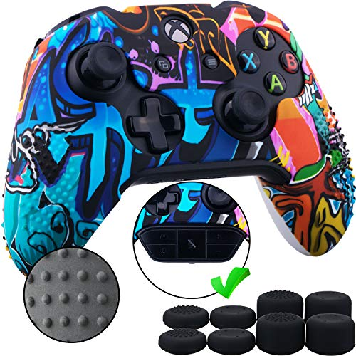 9CDeer Studded Protective Customize Transfer Printing Silicone Cover Skin Sleeve Case + 8 Thumb Grips Analog Caps for Xbox One/S/X Controller Graffiti Compatible with Official Stereo Headset