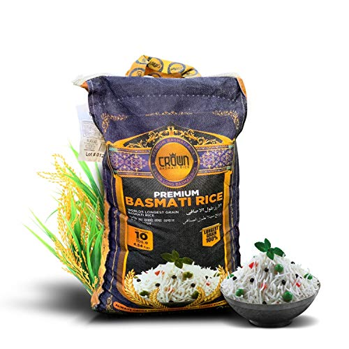 Crown Premium Quality White Basmati Rice – White 2 Years Aged Extra lengthy Basmati Rice – 100% Authentic Extra Long Grain White Basmati Rice From the Foothills of Himalayas 10 lbs.