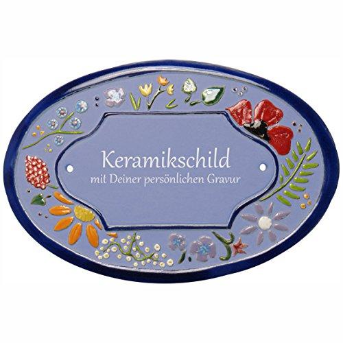 Handarbeit aus Schleswig-Holstein Keramikschild 21,0 x 14,5 cm Wildblütendekor (hellblau)