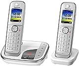 Panasonic KX-TGJ322GW Familien-Handy mit Anrufbeantworter/ Duo Handy mit Mobilteil, schnurloses Handy, strahlungsarm, weiß