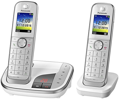 Panasonic KX-TGJ322GW Familien-Telefon mit Anrufbeantworter/ Duo Telefon mit Mobilteil, schnurloses Telefon, strahlungsarm, weiß