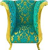 Harald Glööckler Pompöös Extravagante de Casa Padrino sillón de diseño de Lujo patrón de Ramo Turquesa/Dorado - sillón Barroco
