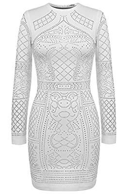 Meaneor White Party Bandage Dress Long Sleeve Rhinestone Dresses for Women (XX-Large, White)