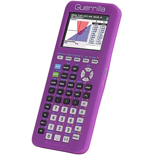 Guerrilla Silicone Case for Texas Instruments TI-84 Plus CE Color Edition Graphing Calculator With Screen protector and Graphing Ruler, Purple