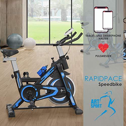 ArtSport Heimtrainer Speedbike RapidPace - Ergometer mit Riemenantrieb, 10 kg Schwungrad, LCD Display & Pulssensoren Fitnessbike Fitness-Fahrrad