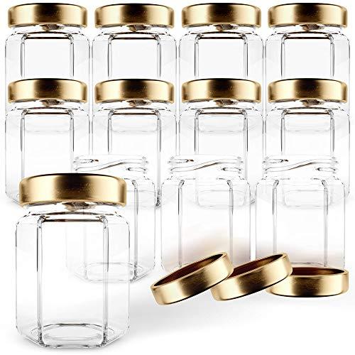 GoJars Tarros de cristal hexagonales de 88ml de calidad , mini tarros con tapas para regalos, recuerdos de boda, productos alimentarios, miel, mermeladas y más. (12, 88ml)…