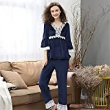 BaoYPP Pijamas de Las Señoras Conjunto de Pijamas para Mujer Loungewear 2 Piezas de Ropa de Dormir Ropa de Manga Larga Ropa para el Invierno Mujeres Dormir (Color : Azul)