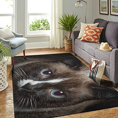 Veryday Alfombra decorativa para el salón o la puerta, diseño de gatos, color blanco, 91 x 152 cm
