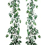 Artiflr 2 Pack Artificial Hanging Leaves Vines, 5.7 Ft Fake Willow Leaves Twigs Silk Plant Leaves Garland String in Green for Indoor/Outdoor Wedding Decor Party Supplies Greenery Crowns Wreath