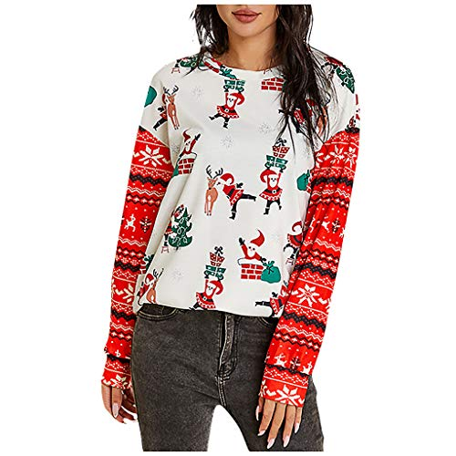 cocotv Christmas women's crew neck long sleeve sweatshirt, snowflake and reindeer Christmas pattern women's jumper top, Christmas decoration - Multicolour - Small