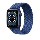 YGGFA 2021 Nueva correa elástica trenzada de nailon para Apple Watch Band 6 SE 5 3 bandas 44 mm 40 mm correa para correa de reloj I Watch Series 6 5 4 2 (color: azul (42/44 mm), tamaño: M)