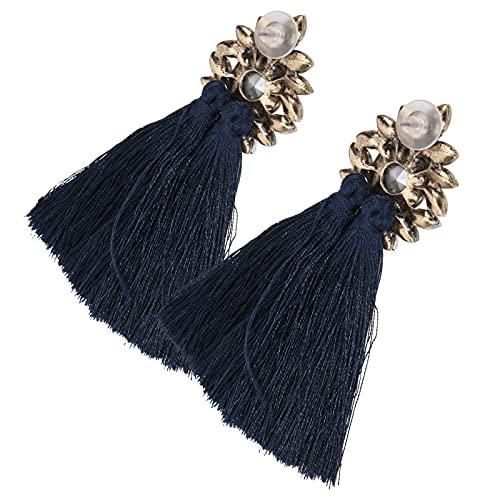 frenma Pendientes En Forma De Flor, Pendiente De Borla 1 Par para Fiestas De Baile para Conciertos(Azul Oscuro)