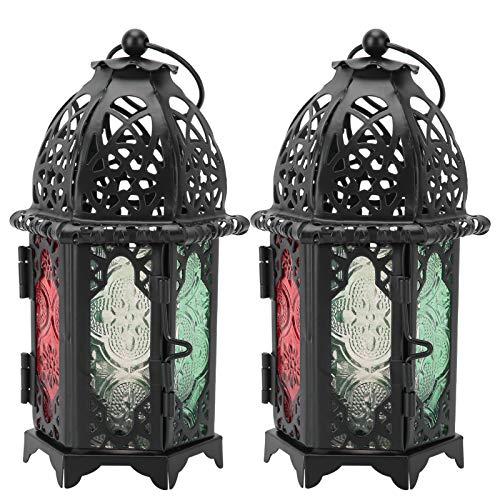 Buachois 2 Piezas de Linterna Decorativa de Vela, Candelabro Colgante Vintage, Candelabro de Metal para Decorar Fiestas, Bodas, Cenas a la Luz de Las Velas
