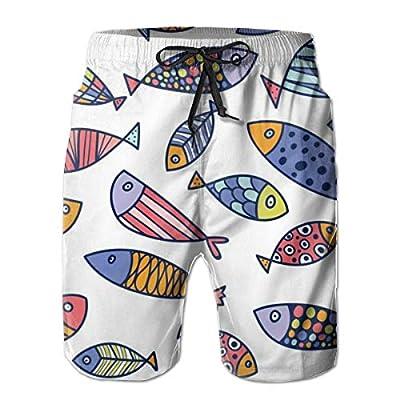 Quick Dry Men's Beach Shorts Cartoon Fish Mesh Lining Surfing Board Shorts Swim Trunks with Pockets