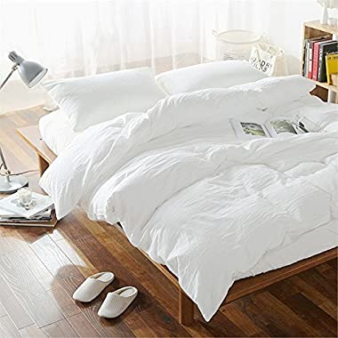 Lausonhouse 100% Linen Duvet Cover Set - Queen - White