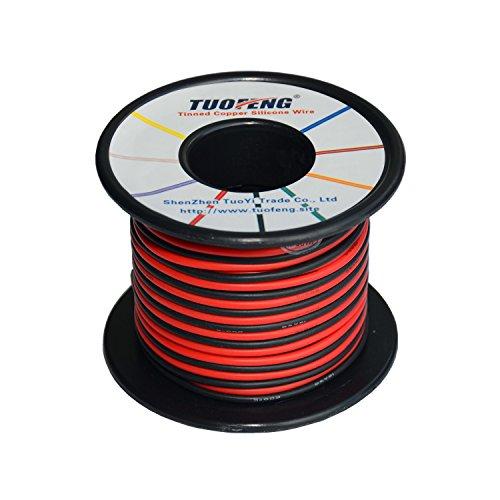 TUOFENG 18 Gauge Draht, 20 m Super flexible Silikon isolierte Anschlussdraht 10 m Schwarz und 10 m Rot 2 getrennte Drähte verzinnt Kupferdraht hohe Temperaturbeständigkeit für 3D-Drucker, RC-Fahrzeug