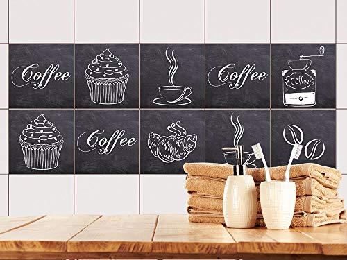 GRAZDesign Fliesenaufkleber mit Tassen - Fliesen überkleben Coffee - Fliesenspiegel Küche Kaffee - Klebefliesen grau / 10x10cm / 770530_10x10_FS10st