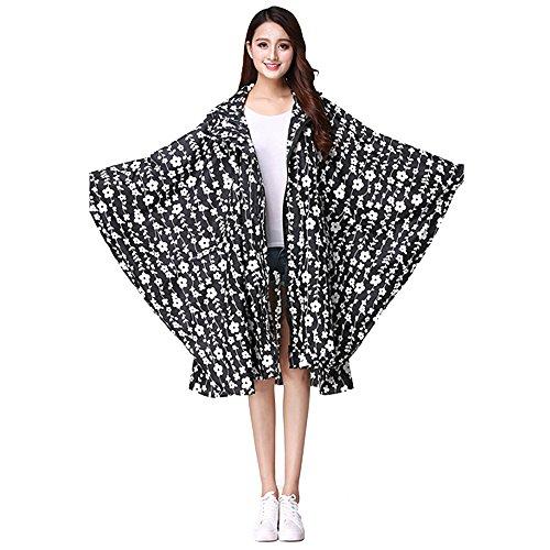 KINDOYO Femmes de Vêtements de Pluie de Voyage en Plein air Cyclisme Poncho Léger Capuche Zipper Imperméable Manteau Imperméable, Noir