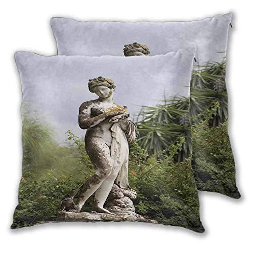 Skulpturen Kissenbezug Schlafzimmer Skulpturierte Figur Grün auf dem Gelände des Achillion Palace Corfu Island Doppelseitiger Druck 2 PCS Grün Beige