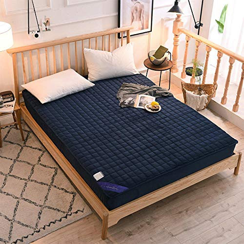 Claean-Acces-Home Cover Protector Matresss New Crystal Velvet Clip Cotton Bed Is A Simple Solid-Color Bedspread With A One-Piece Wrap-Around Mattress Cover-Dark Blue_1.5 * 2.0M