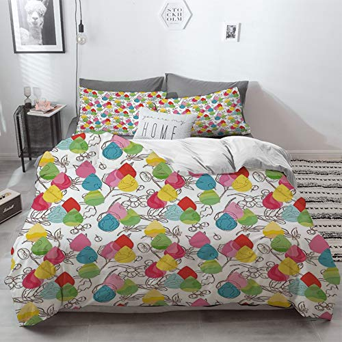 3 Piece Duvet Cover Set No Wrinkle Ultra Soft Bedding Set,Modern Decor,Rainbow Colored Ombre Abstract Raindrop Backdrop with Leaves and Flowers I,2 pillowcase 50 x 75cm 1 Pc Bed sheet 230 x 220cm