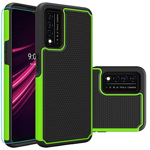 T-Mobile REVVL V Plus 5G Case, T-Mobile REVVL V+ 5G case with HD Screen Protector,Giner Dual Layer Military-Grade Defender Protective Phone Case Cover for T-Mobile REVVL V Plus 5G (2021) (Green Armor)