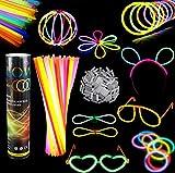 Barras luminosas, Pack de 100 Pulseras fluorescentes glow pack multicolor,Simuer Glow Sticks Varitas Luminosas para Fiestas -8' collares, kits para crear gafas