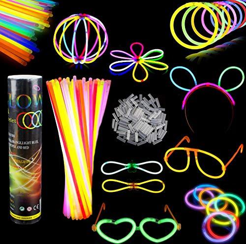 Simuer 100 Knicklichter Leuchtsticks mehrfarbig sortiert Knicklicht Partygeschenke Spielzeug inklusive Verbinder 8
