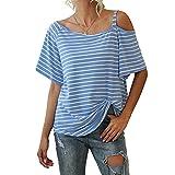 Camiseta de manga corta con nudo de rayas anchas y cuello inclinado para mujer, azul, XL
