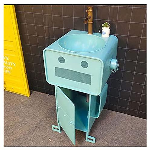 Lavabo Con Pie Creativo De Una Pieza, Hierro Forjado Lavamanos Bano 55 * 45 * 85 Cm, Fregadero De Pedestal Robot De Dibujos Animados Con Grifo Y Tubería De Dr(Size:Cuenca de pedestal,Color:Azul claro)