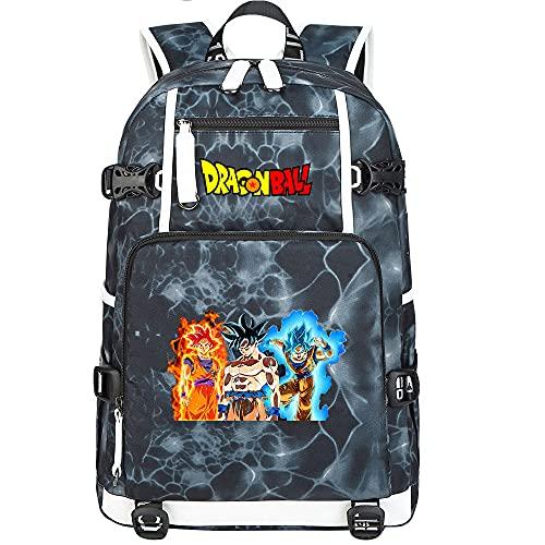 ZZGOO-LL Dragon Ball Son Goku/Torankusu Mochila de Anime Mochila de Escuela Secundaria para Estudiantes para Mujeres/Hombres con USB-G